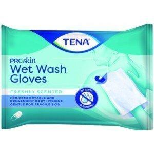 TENA Wet Wash Gloves ProSkin : Gants sans rinçage - La boîte de 50 soft & strong.
