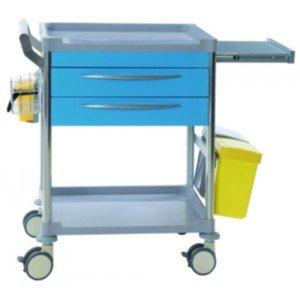 Chariot de soins 2 tiroirs - Coloris noir.
