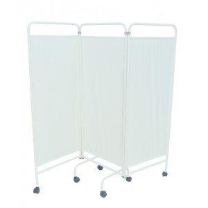 Paravents sur roulettes - Le paravent 3 panneaux rideau PVC blanc
