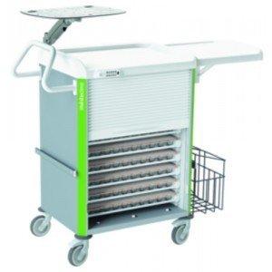 Chariot de distribution Neop 600 x 400 - La double colonne de 52 niveaux.