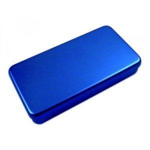 Boîte aluminium - Bleu, dim. L 180 x l 90 x H 30 mm.